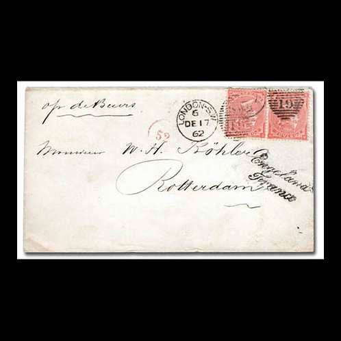 1862, cover from London to Rotterdam, Netherlands