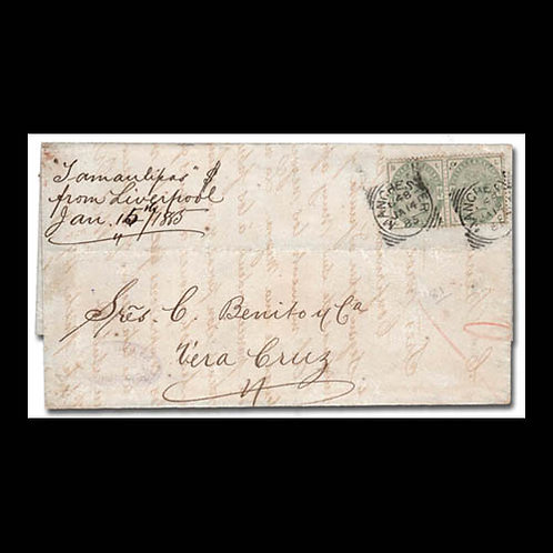 1885, folded letter from Liverpool to Vera Cruz, Mexico