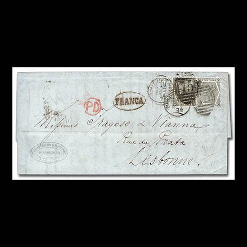 1874, folded letter from Birmingham to Lisbon, Portugal