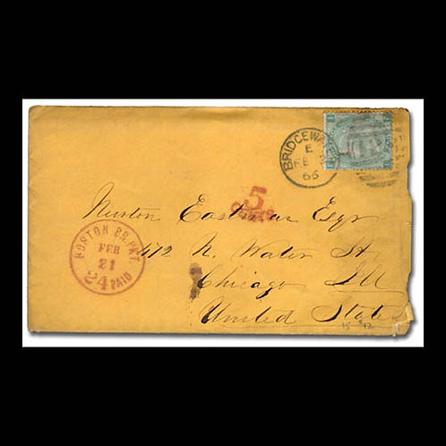 1866, cover from Bridgewater to Chicago, U.S.
