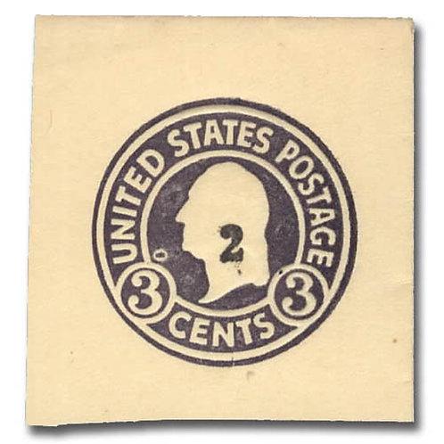 Envelope, 1920, 2¢ on 3¢ dark violet on amber (Scott U478),