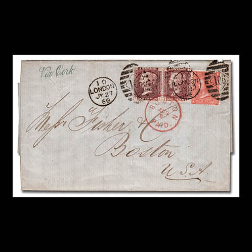 1869, folded letter from London to Boston, U.S.