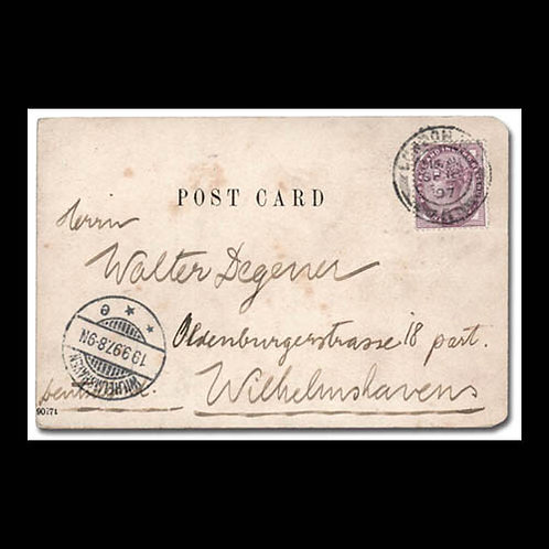 1897, post card from London to Wilhelmshaven, Germany