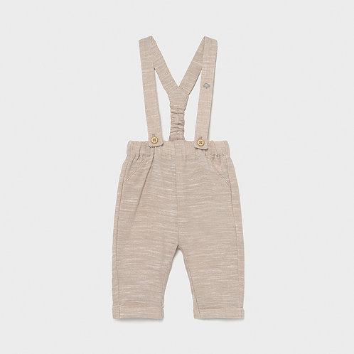 Pantalone lungo in lino con bretelle mayoral