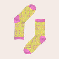 Yellow socks with pink cats