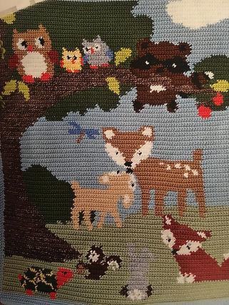 Forest animals graph baby blanket