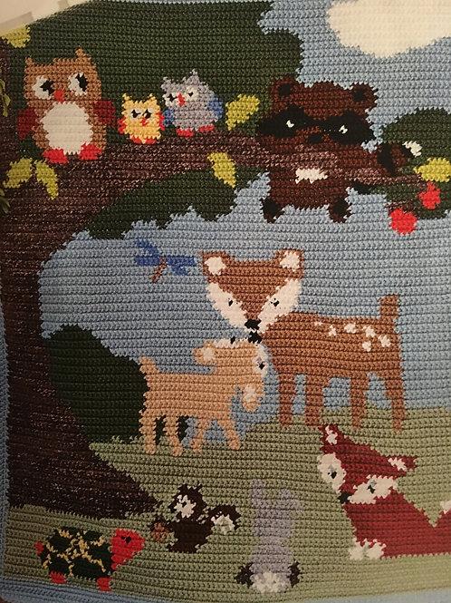 Forest animals baby blanket