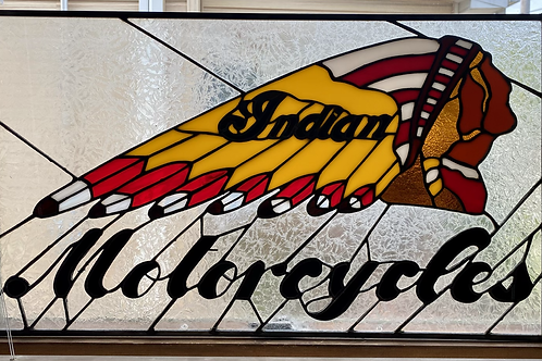 Indian motorcycle stained glass panel