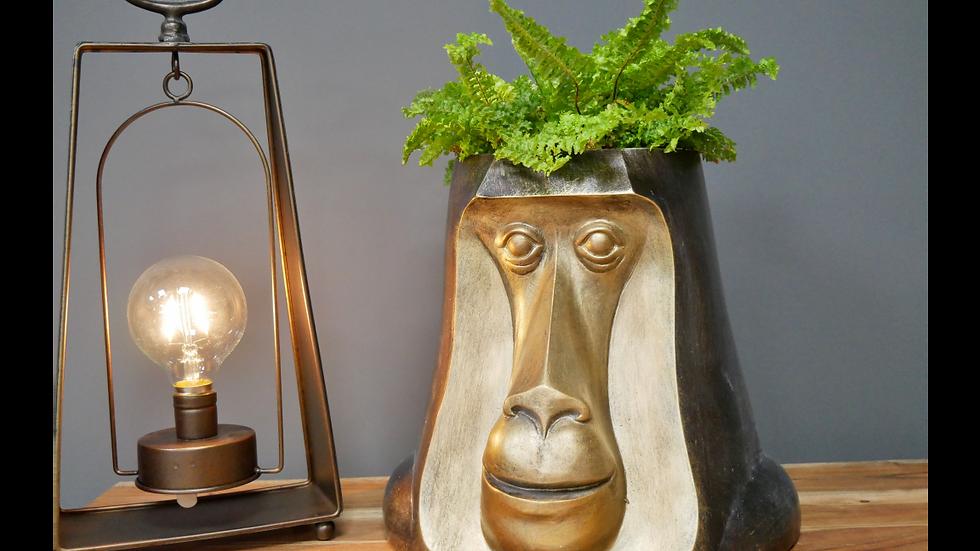 Monkey Head Planter Gold