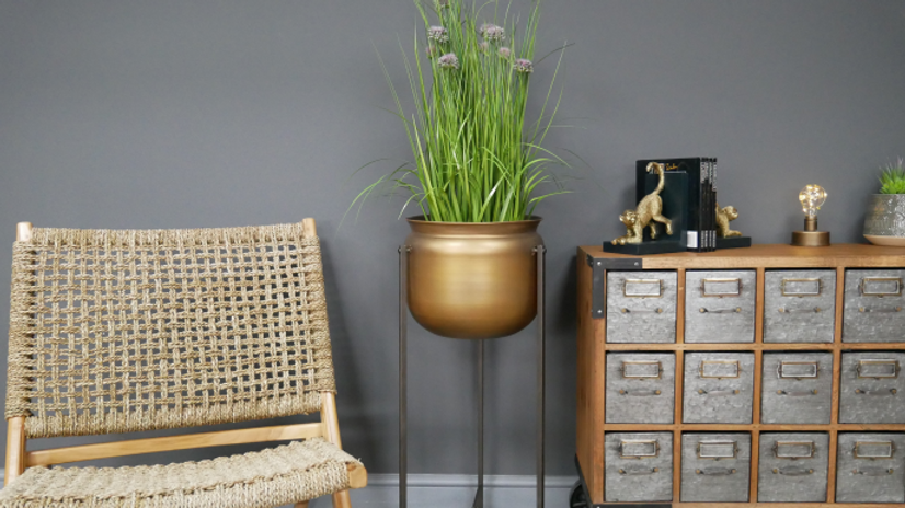 Planter Stands in brushed gold metal