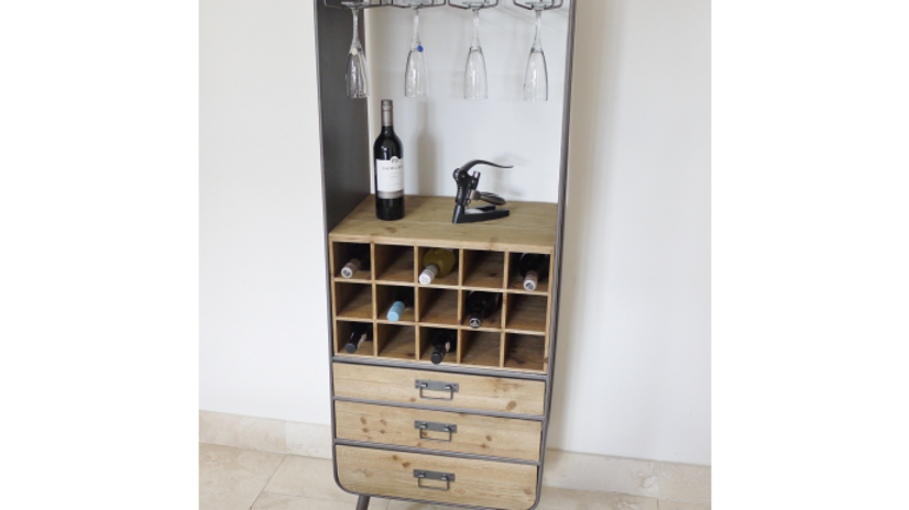 Retro  Mirrored  Bar Cabinet