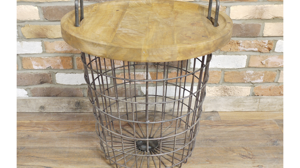 Wooden Basket Storage Table