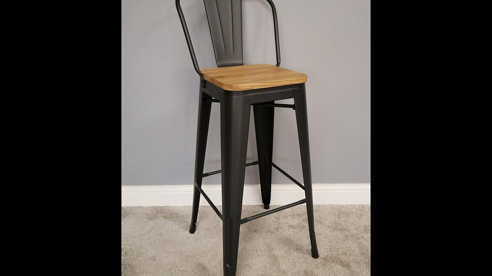 Wood and  metal High back bar stool