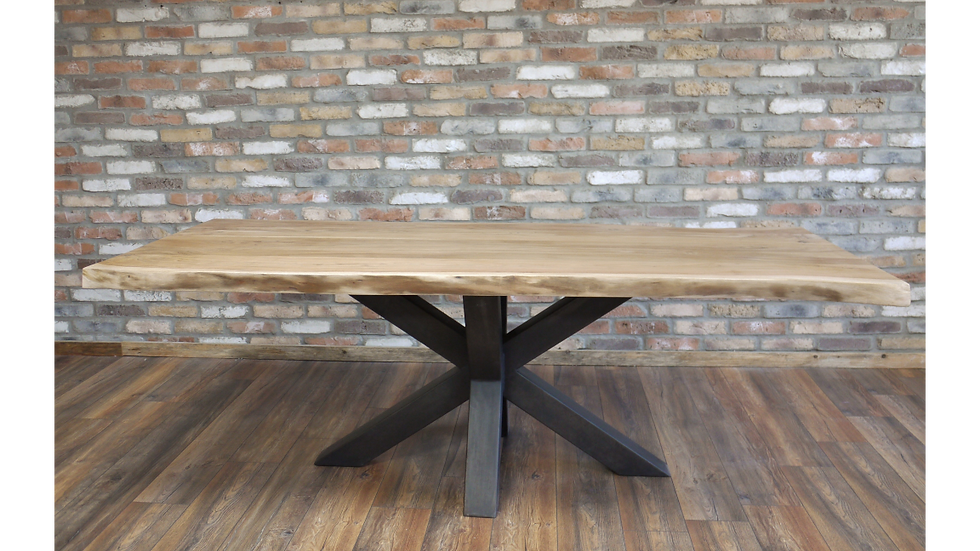 Living Edge Hardwood and Iron leg Table