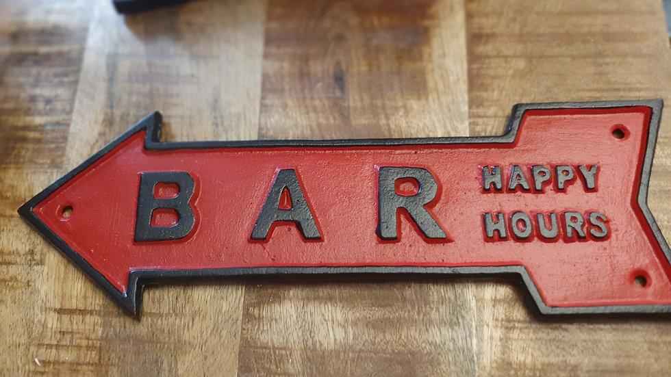 Cast iron reversible  hanging  Bar Sign