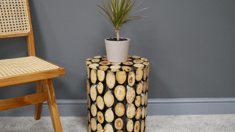 Teak log table