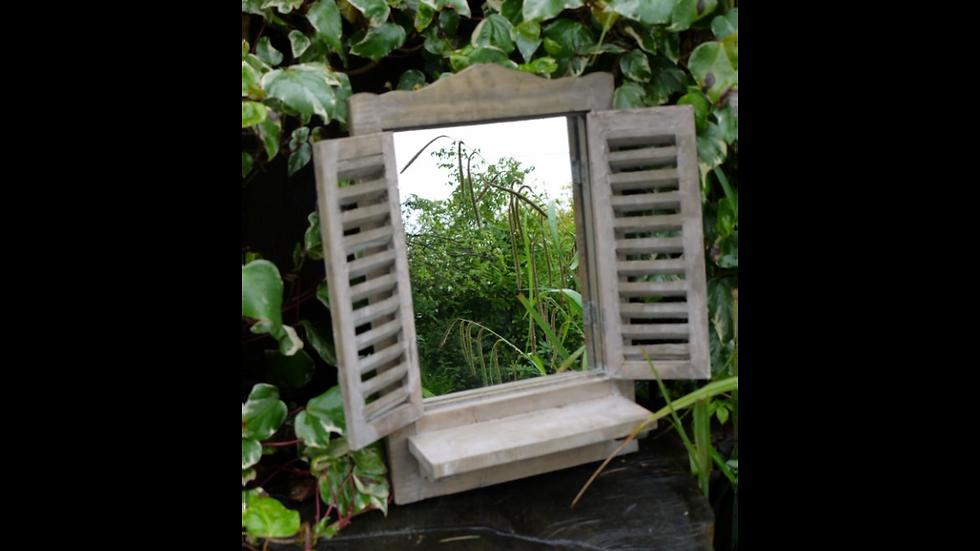 Wooden Shutter and Shelf Mirror