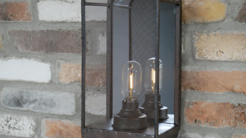 Industrial Mirrored Battery Wall Light 6725