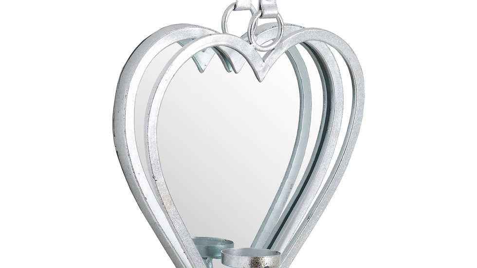 Mirrored Silver Candle Holder