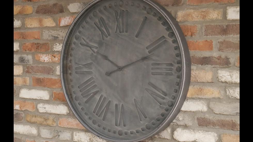 Clock grey metal 80cm 6102