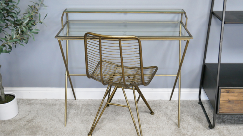 Metal and Glass Desk, dressing table