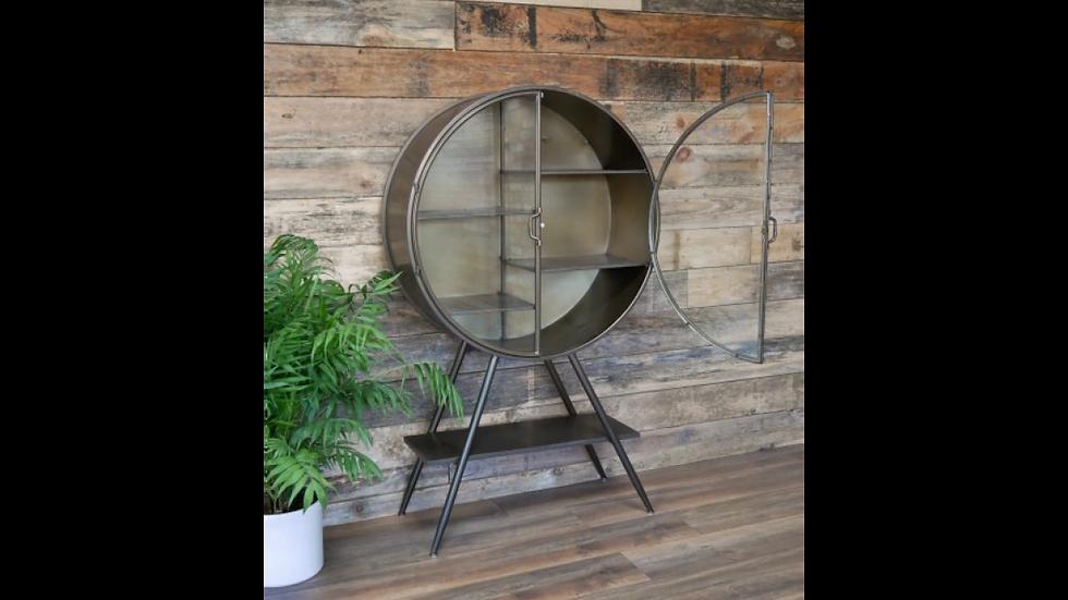 Display Cabinet in Grey Bronzed  Metal