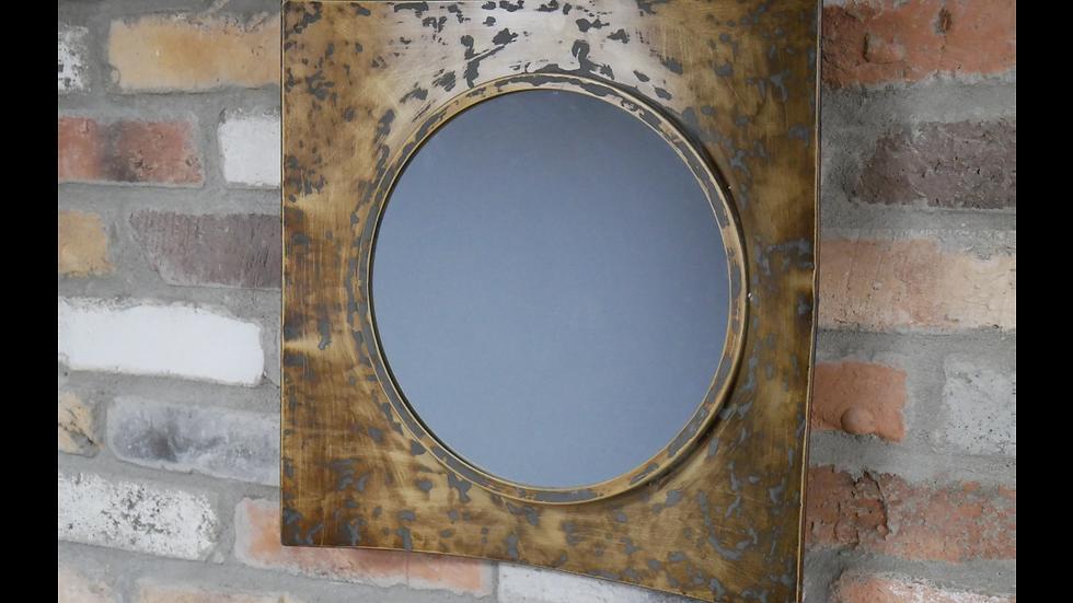 Curved Metal Mirror in Dark Gold Finish