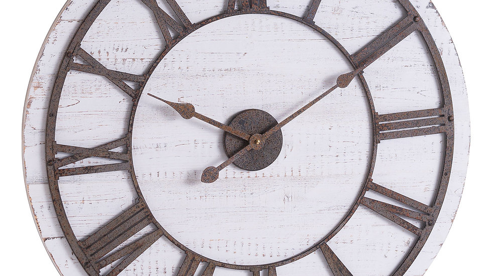 Rustic Wood  and Aged Metal features clock