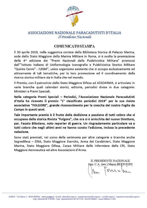 COMUNICATO STAMPA PREMIO RIVISTA FOLGORE