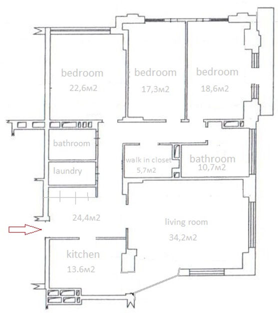 3-bedroom apartment for rent in Kiev center opposite to central Botanic Garden