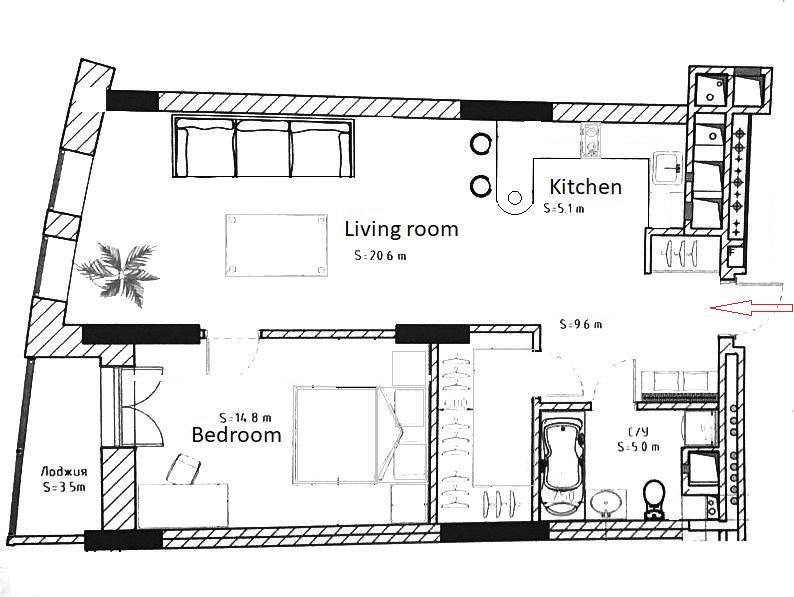 """2-room studio for rent in the new condo """"Pechersk Hills""""."""