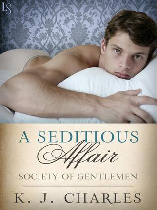 A seditious affair cover, young man leaning over a pillow and looking straight at the camera