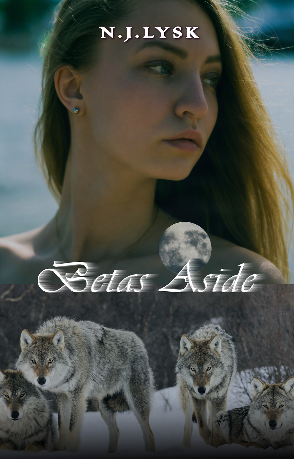 Young woman looking into the distance with wolves underneath, Betas Aside by N.J. Lysk