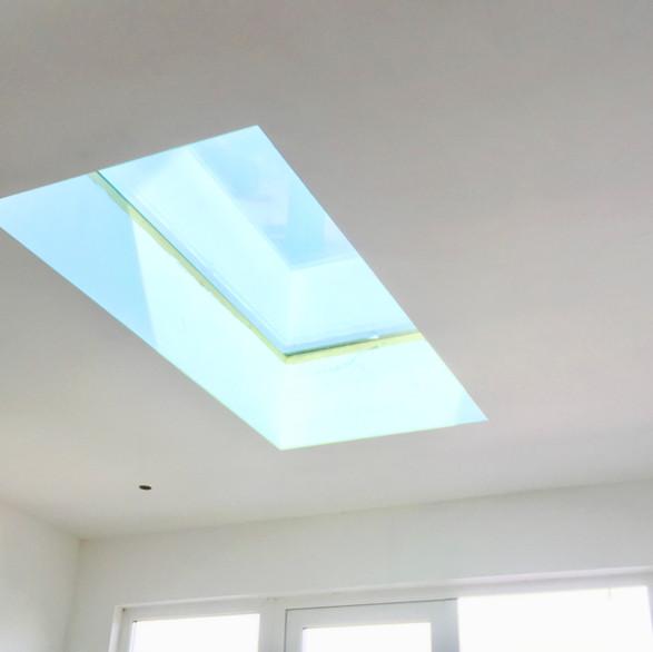orangery velux roof light boarded and plastered in belper
