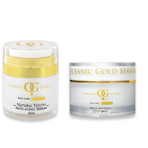 Oceanic Gold Natural Youth Anti-Aging Serum+Rich Mineral Night Cream(Australian)