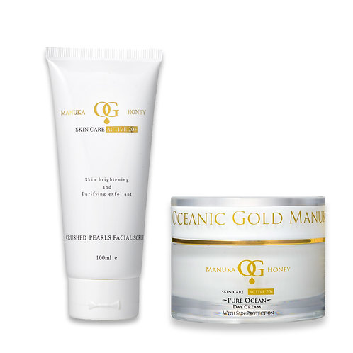 Oceanic Gold Ocean Facial Scrub Crushed Pearls+Pure Ocean DayCream SunProtection