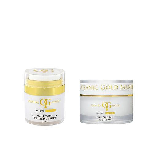 Oceanic Gold All Natural Whitening Serum + Rich Mineral Night Cream(Australian)