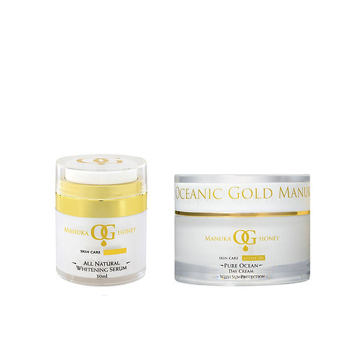 Oceanic Gold All Natural Whitening Serum+Pure Ocean Day Cream with SunProtection
