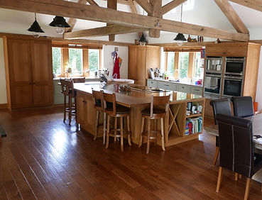 Oak and Painted Cabinets