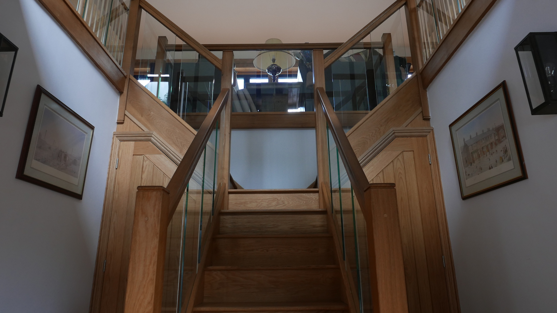 Oak Staircase with Glass Balustrades