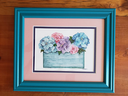 Teal Box of Flowers Watercolor Painting