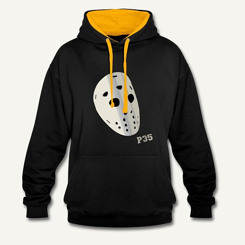 Hoodie Mask Black contrast Yellow