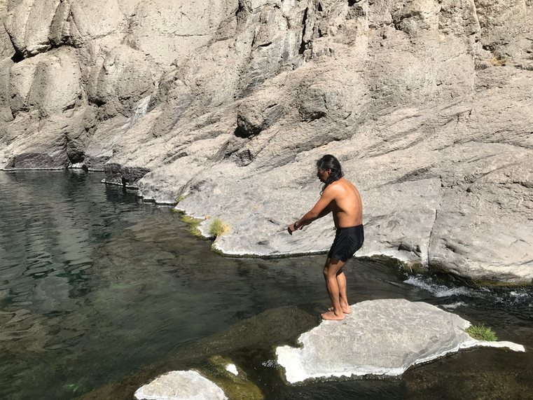 Swimming at the Paccha Waterfall