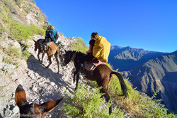 Climbing out of the Colca Canyon