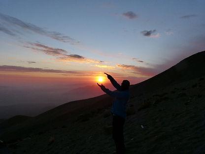 Sunset at the Misti Volcano basecampi
