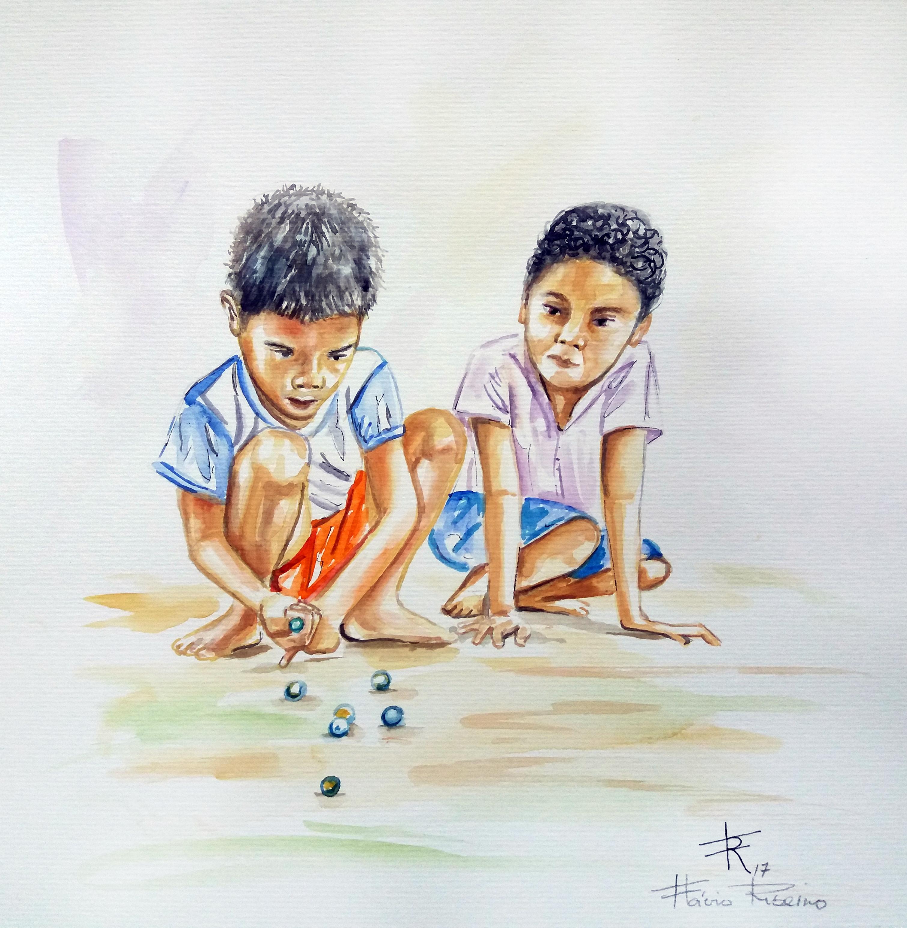 meninos jogando gude
