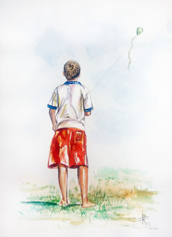 aquarela de flavio Ribeiro menino com pi