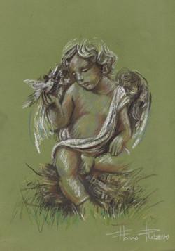 Anjo com pombo