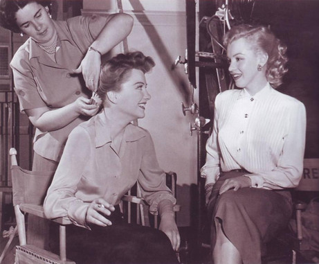 Anne Baxter with Marilyn Monroe