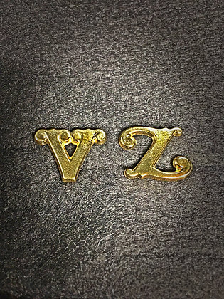 Large V or Z Scroll Style Company Letters